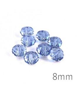 Perle rondelle à facettes 8mm light sapphire x10