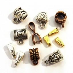 Bélières, perles attache breloque et supports pour pendentifs
